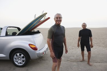 Senior surfers at the beach
