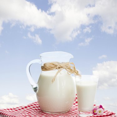 jar of milk and glass outdoor