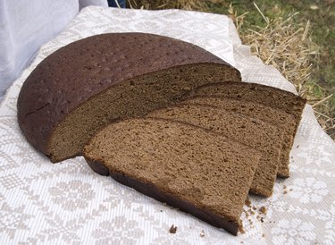Fresh homemade black round rye bread
