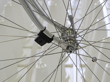 speed meter on bicycle wheel.