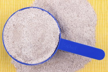 Close up of a chocolate whey protein
