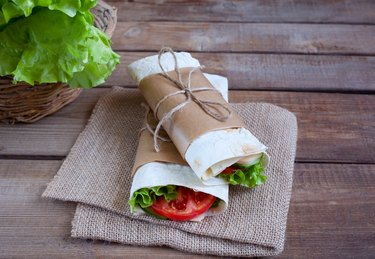 Cheese and fresh vegetables wrap sandwich