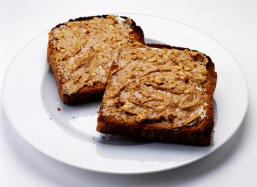 Two slices of wholemeal toast with peanut butter