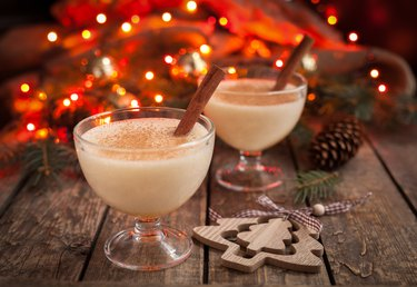 Eggnog traditional christmas egg, vanilla rum alcohol drink liqueur preparation