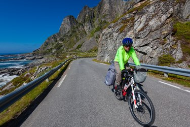 Biking in Norway against picturesque landscape