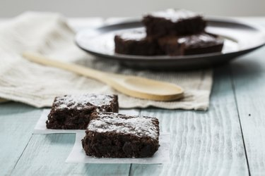 Brownies With a Wood Spoon Close up