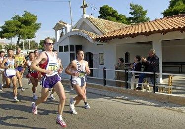 People running the Athens Authentic Marathon