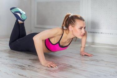 fitness athlete sportive woman sport model girl training crossfit doing