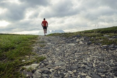Trail running on the mountains