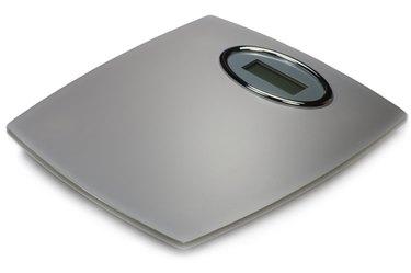 Digital Bathroom Scales, Grey Silver Matt Glass, Isolated Macro Closeup
