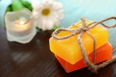 Spa Background. Natural Soap with Sea Salt. Body scrub.