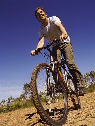 Thirty something Man Riding a Mountain Bike