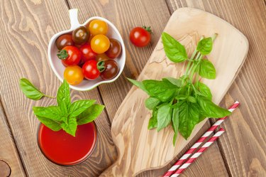 Fresh tomato juice smoothie with basil