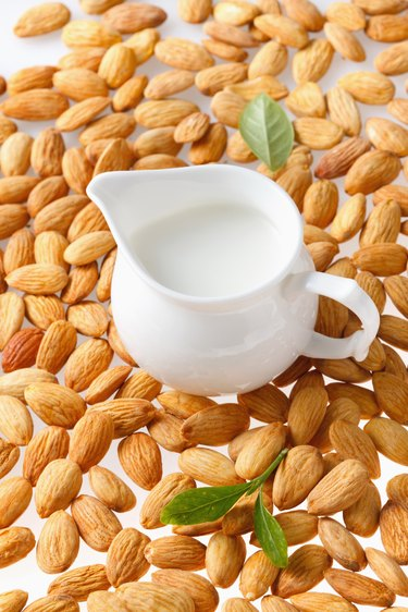 Cup of milk and almonds