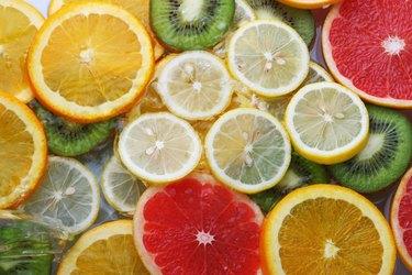 Slices of grapefruit and oranges