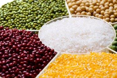 Rice,corn,red bean,green bean and soybean
