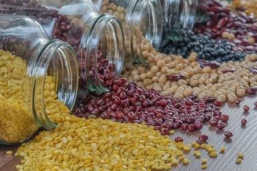 Close-up prepared soybean in a glass jar