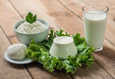 Dairy products. Sour cream, milk, cheese, mozzarella, ricotta