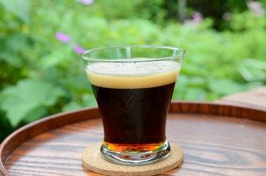 black beer in the garden