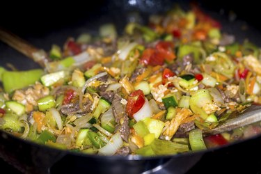 Wok meat and vegetables