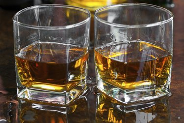 Golden Brown Whisky on the rocks in a glass
