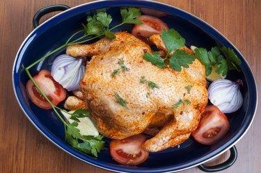 Raw chicken in pot
