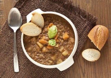 Fresh lentil soup with potato and carrots