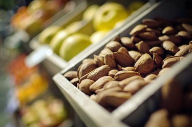 Almonds and fruits at the market in Spain.
