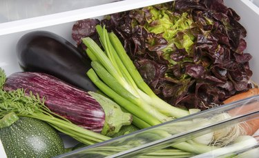 Fresh vegetables inside a refrigerator