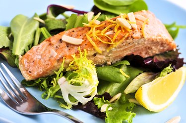 Salad with grilled salmon