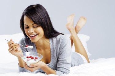 healthy yoghurt woman