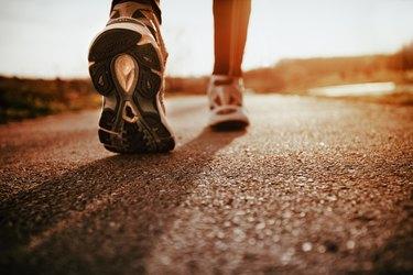 Running shoes closeup