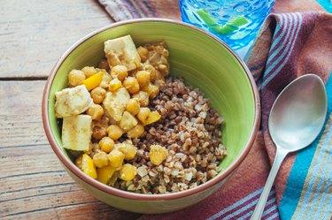 Tofu Chickpea Stir Fry with buckwheat