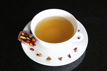 Tea and Loukoumi (with pomegranite & rosebuds)