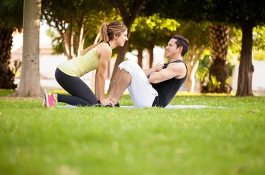 Exercising together outdoors