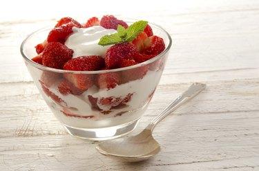 strawberry dessert with some fresh yogurt