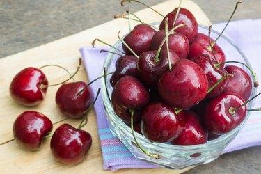 Ripe cherry in a glass bowl