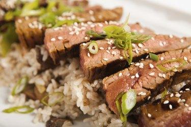Korean Flank Steak with Sticky Rice