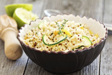 Warm quinoa salad with vegetables