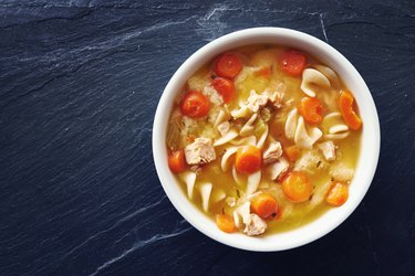 top down photo of chicken noodle soup