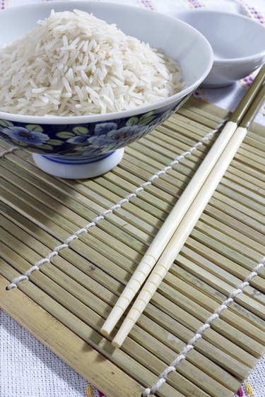 Bowl of rice with chopsticks