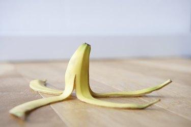 Can you eat banana peels? Banana skin on floor