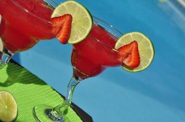 Strawberry Margaritas with Fresh Fruit Garnish Poolside