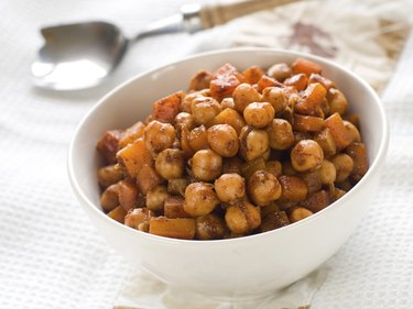 chickpeas on a metal spoon