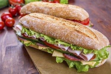 Long Baguette Ham and Salami Sandwich