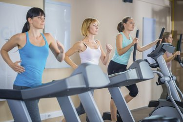 Women Training On The Treadmill