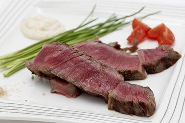 Wagyu steak dinner closeup