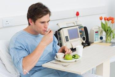 Man having healthy food in hospital