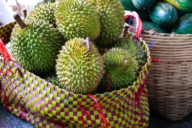 Large basket with durian