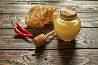 Honey and honeycomb with chili pepper
